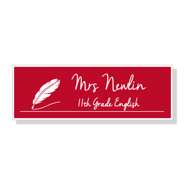 English Teacher Rectangle School Name Tag