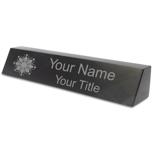 Engraved Black Marble Desk Name Plate