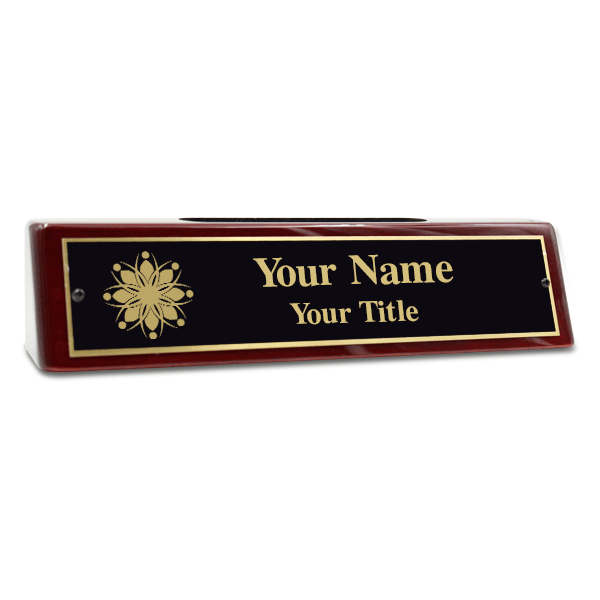 "Engraved Brass Desk Name Plate with Business Card Holder 2"" x 8"""