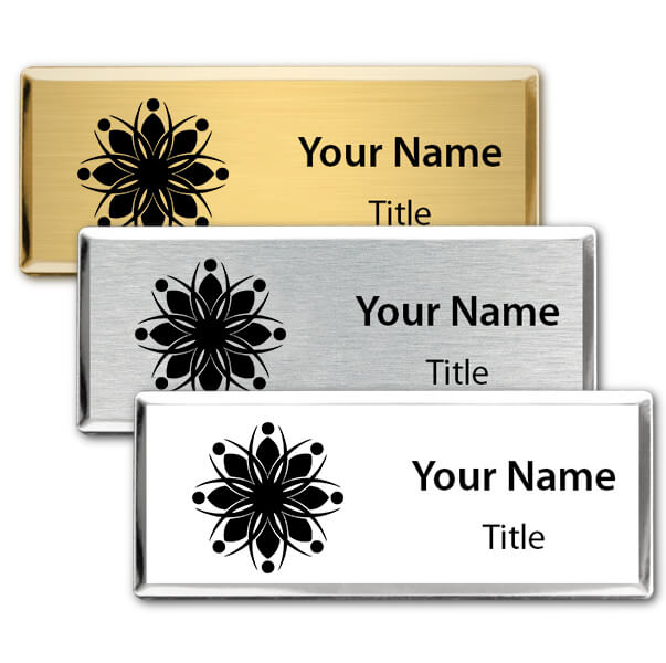 Engraved Executive Beveled Badges - Small Rectangle