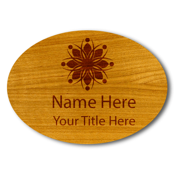 "Engraved Oval Wood Name Tag | 1 ¾"" x 2 ½"""