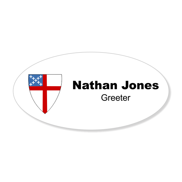 Episcopal Church Name Tag with Logo - Oval