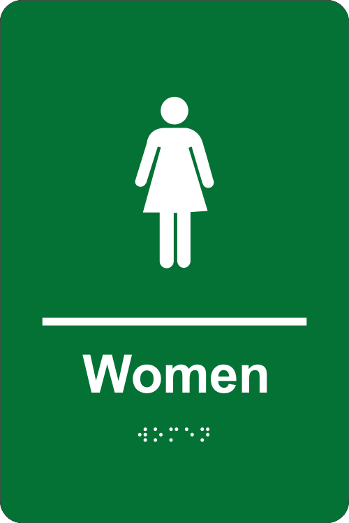 Braille Women's Restroom Sign in Apple Green
