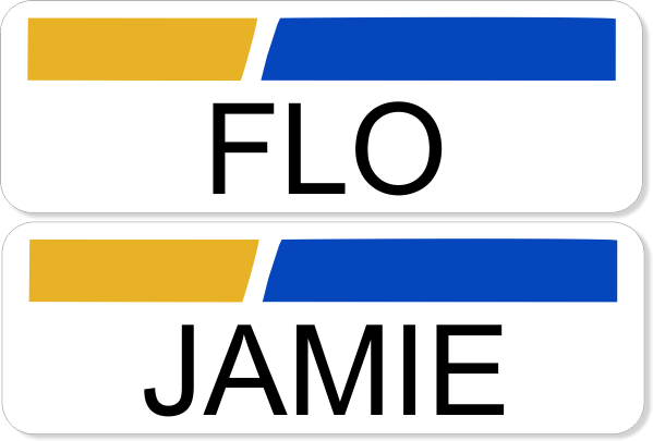 Flo and Jamie Name Tag Set