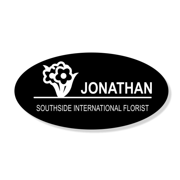 Flower Bunch Oval Florist Name Tag