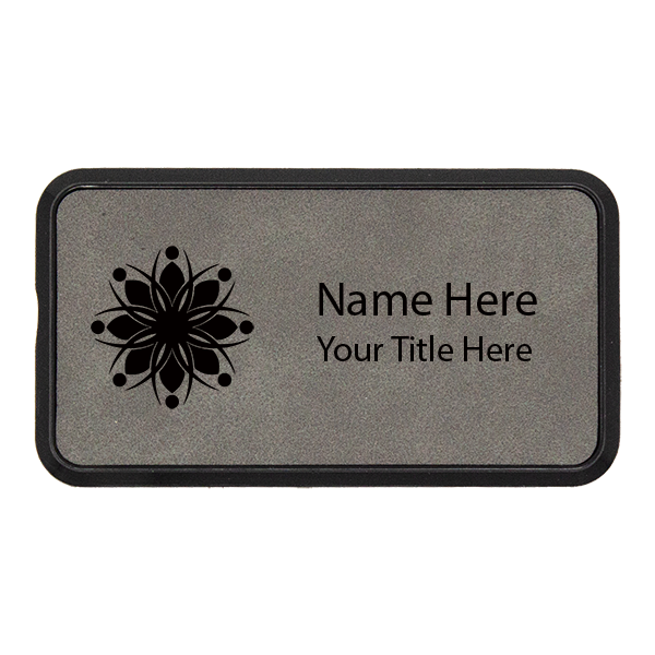 Magnetic Leatherette Name Tag with Frame - Rectangle