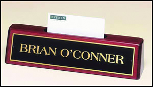 High-Gloss Rosewood Desk Wedge with Business Card Holder