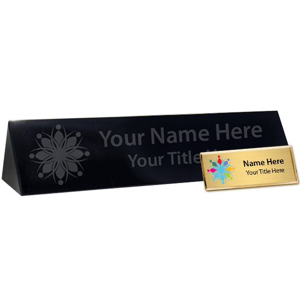 Full Color Fancy Name Tag and Marble Desk Block Set