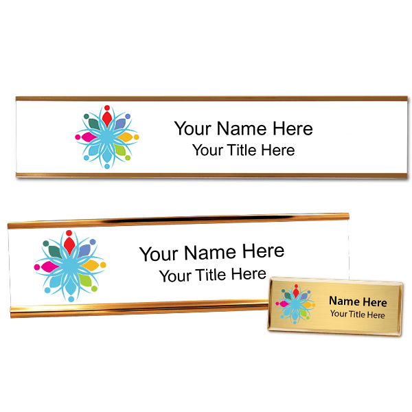 Full Color Fancy Name Tag, Desk Plate, and Wall Plate set