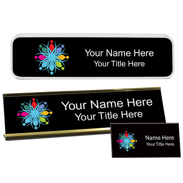 Full Color Name Tag, Desk Plate, and Wall Plate set