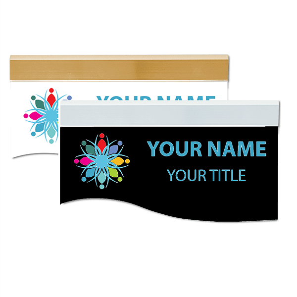 """Full Color Wave Shape Sign with Holder - 3.25"""" x 8"""""""