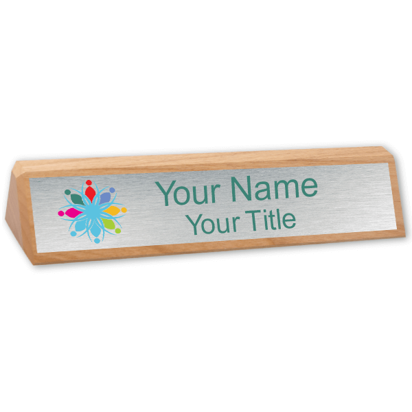 Genuine Red Alder Desk Wedge with Full Color Name Plate