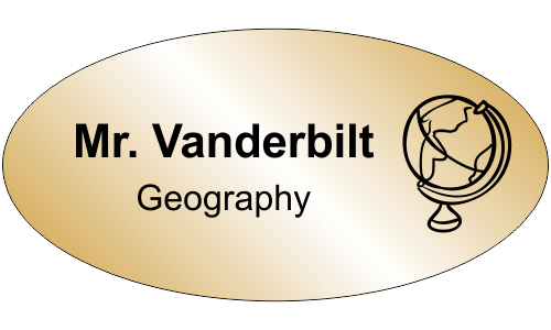 Geography 2 Line Oval Name Tag