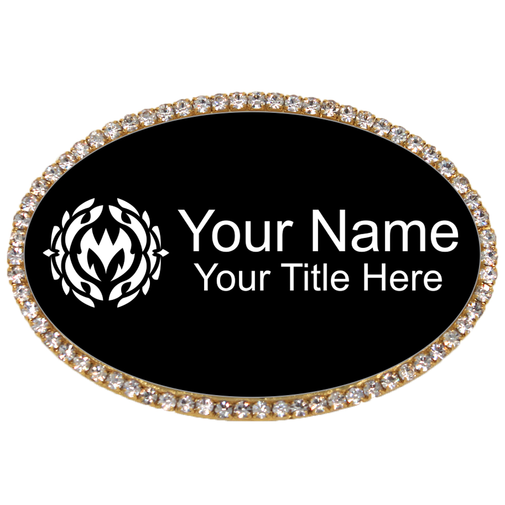 Gold and Black Oval Bling Name Tag