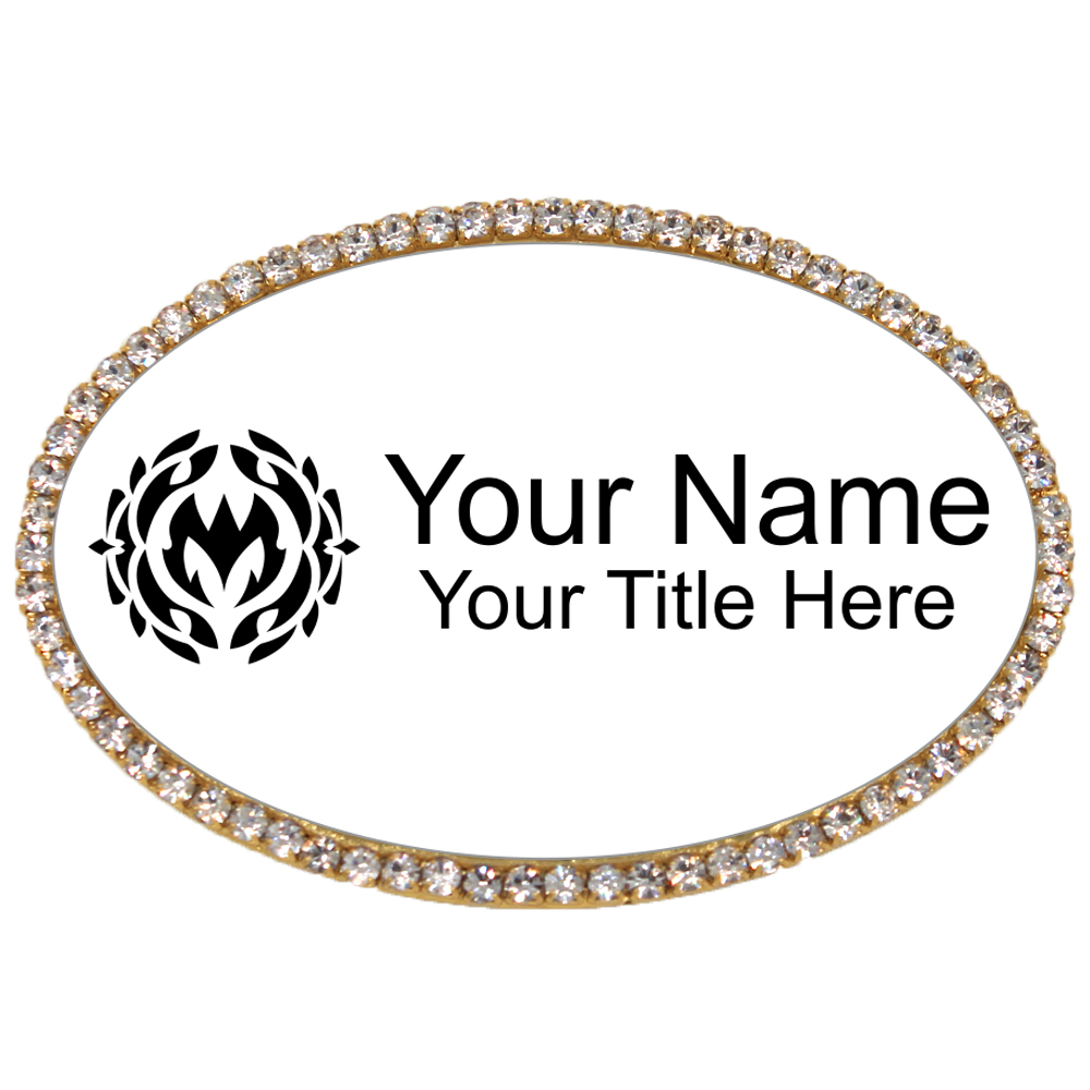 Gold and White Oval Rhinestone Name Tag