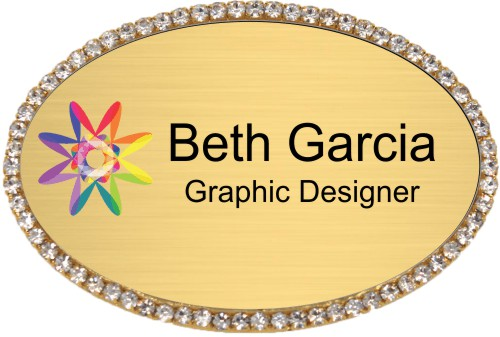 Gold Bling Oval Name Tag