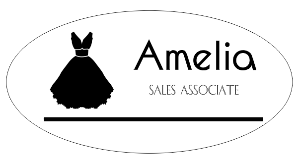Bridal Store 2 Line Oval Name Tag