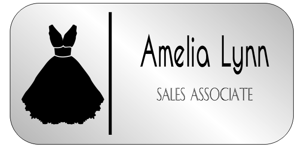 Gown 2 Line Rectangle Bridal Boutique Name Tag