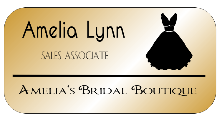 Gown 3 Line Rectangle Bridal Boutique Name Tag