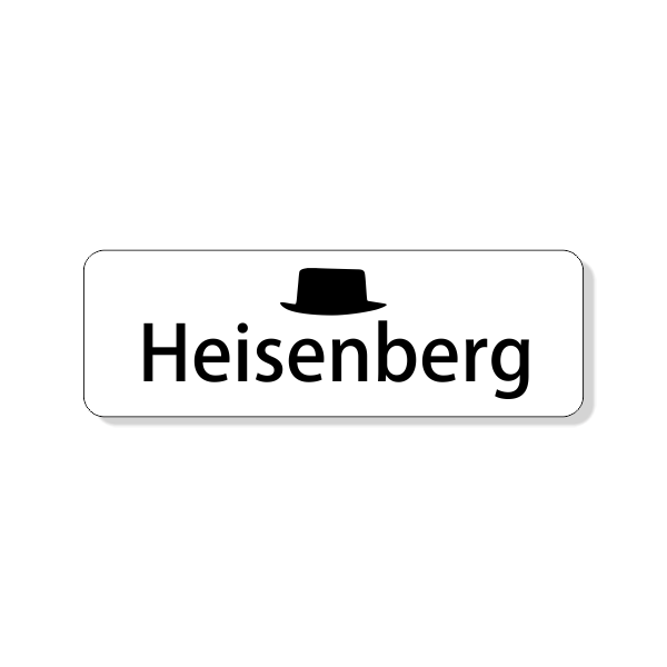 Heisenberg Breaking Bad Costume Name Tag