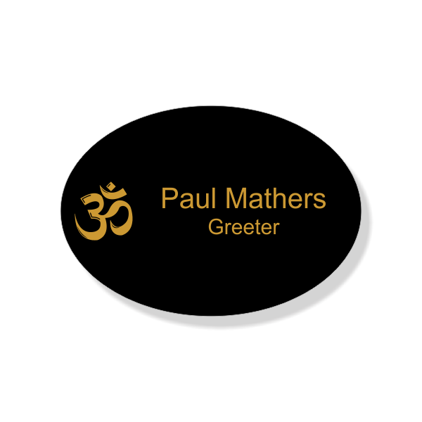 Hindu Faith Engraved Name Tag - Oval