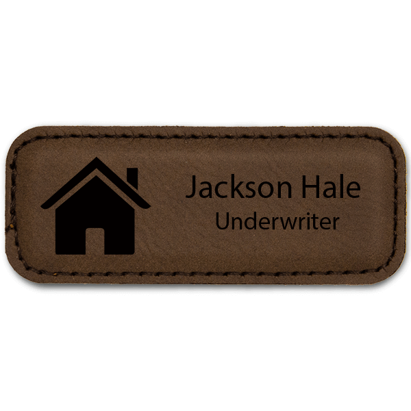 House Realtor Leatherette Name Tag