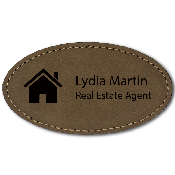 House Realtor Leatherette Oval Real Estate Name Tag