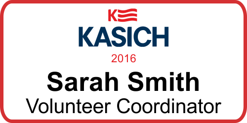 Kasich Presidential Name Tag