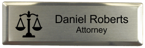 3x1 inch Law Office Small Name Badge w/ Silver Holder