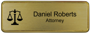 3x1 inch Law Office Small Name Badge w/ Holder