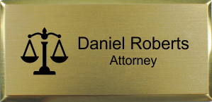 3x1.5 inch Law Office Rectangular Name Badge w/ Executive Holder
