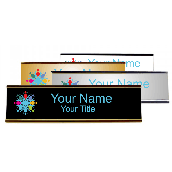 "Left Logo Full Color 2"" x 8"" Desk Plate with Holder"