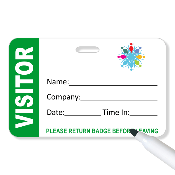 Logo Visitor Reusable Dry Erase Name Badge