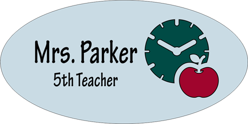 Modern Apple and Clock 2 Line Oval Name Tag