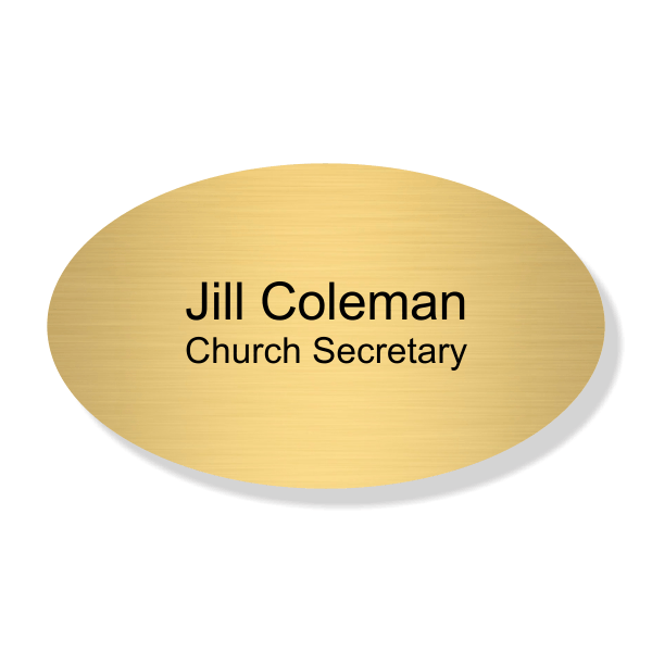 Name and Title Engraved Faith Name Tag - Oval