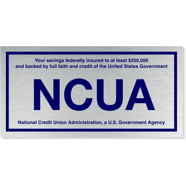 """NCUA Blue / Silver Color Wall Plate   4"""" x 8"""""""