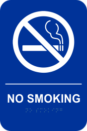 Blue and White No Smoking Sign with Braille
