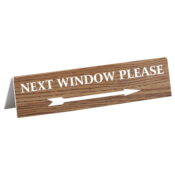 "Next Window Bank Teller Engraved A-Frame Sign | 2"" x 8"""