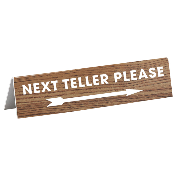 "Engraved A-Frame Next Teller Bank Sign | 2"" x 8"""