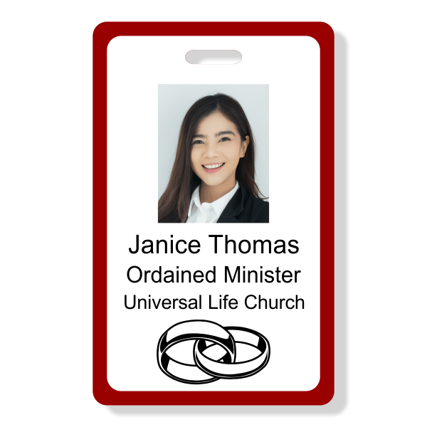 Ordained Minister Name Badge - Vertical