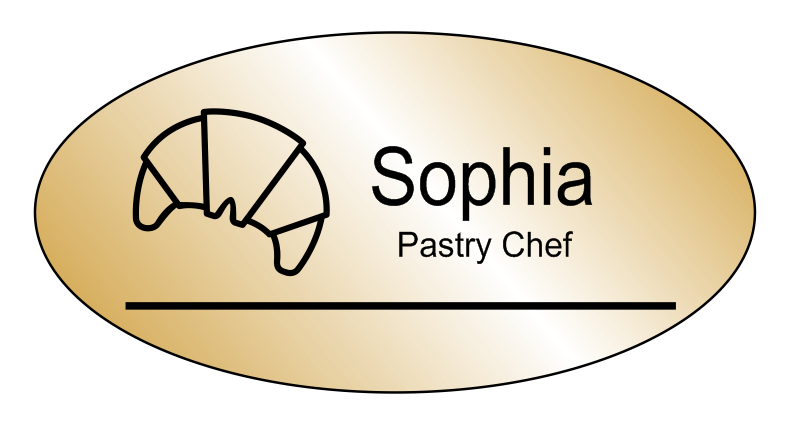 Oval 2 Line Bakery Name Tag A