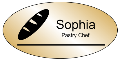 Oval 2 Line Bakery Name Tag B