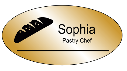 Oval 2 Line Bakery Name Tag C
