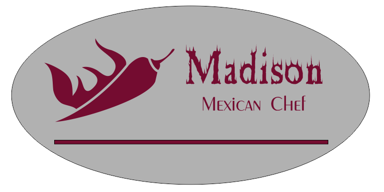 Oval 2 Line Mexican Restaurant Name Badge A