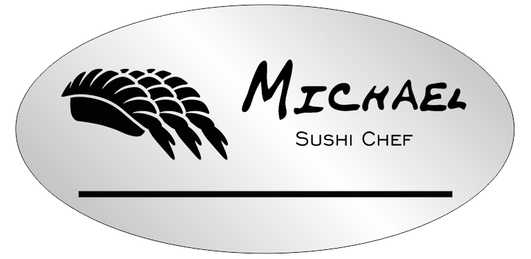 Oval 2 Line Sushi Restaurant Name Badge B