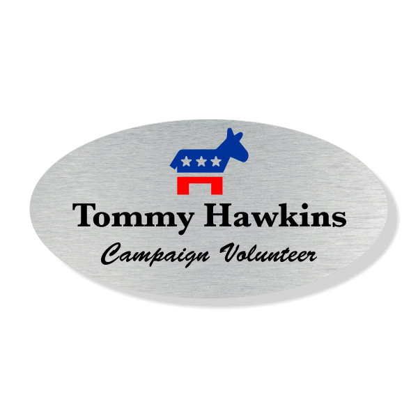 Oval Liberal Color Political Name Tag
