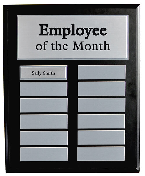 Employee Of The Month Black Master Board W Silver Plates