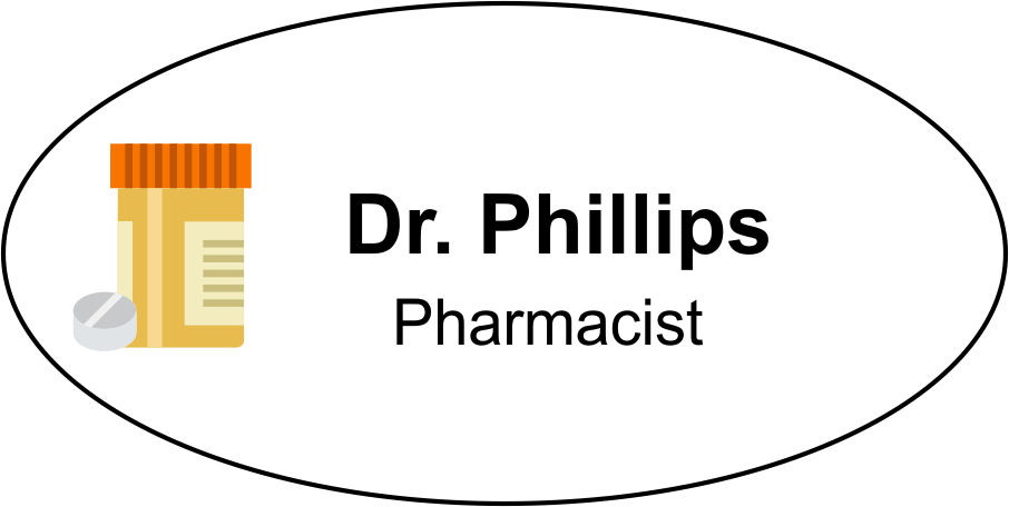 Oval Pharmacy Name Tag