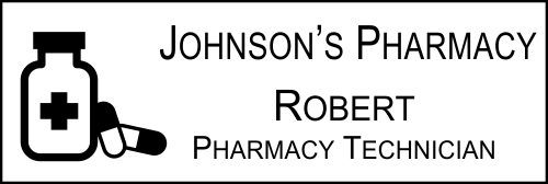 Pharmacist Pill Bottle Engraved Name Tag