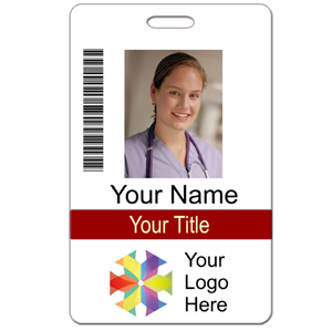 Photo id custom 2 lines text bar code logo name tag for School id badge template